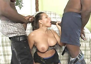busty milf receives ravaged by cocks in front of