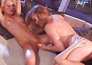 lesbo chicks use toys to acquire off and lick