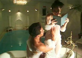 japanese youthful hotty sex in bath-room