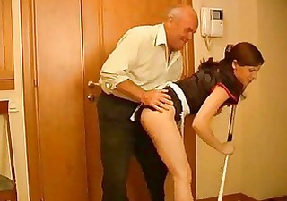 seductive dark brown maid acquires rammed by old